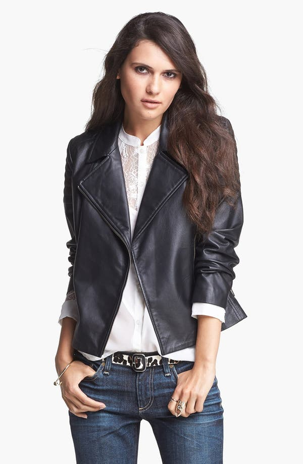 Main Image - Mural Quilted Leather Biker Jacket