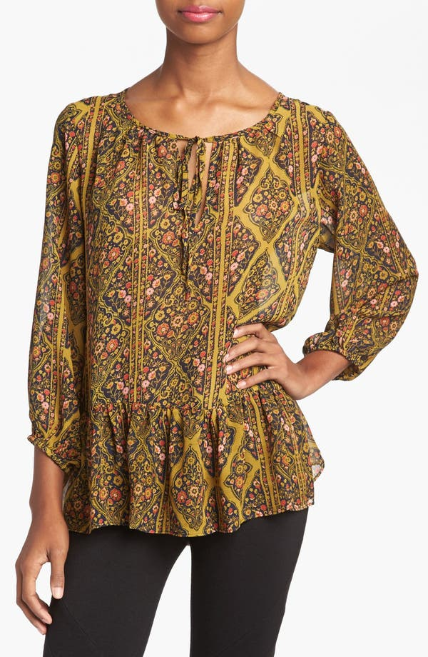 Main Image - Like Mynded Floral Print Peasant Top