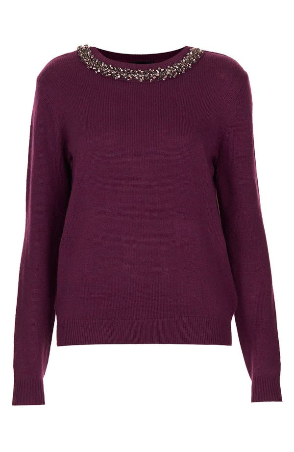 Alternate Image 3  - Topshop Embellished Neck Sweater
