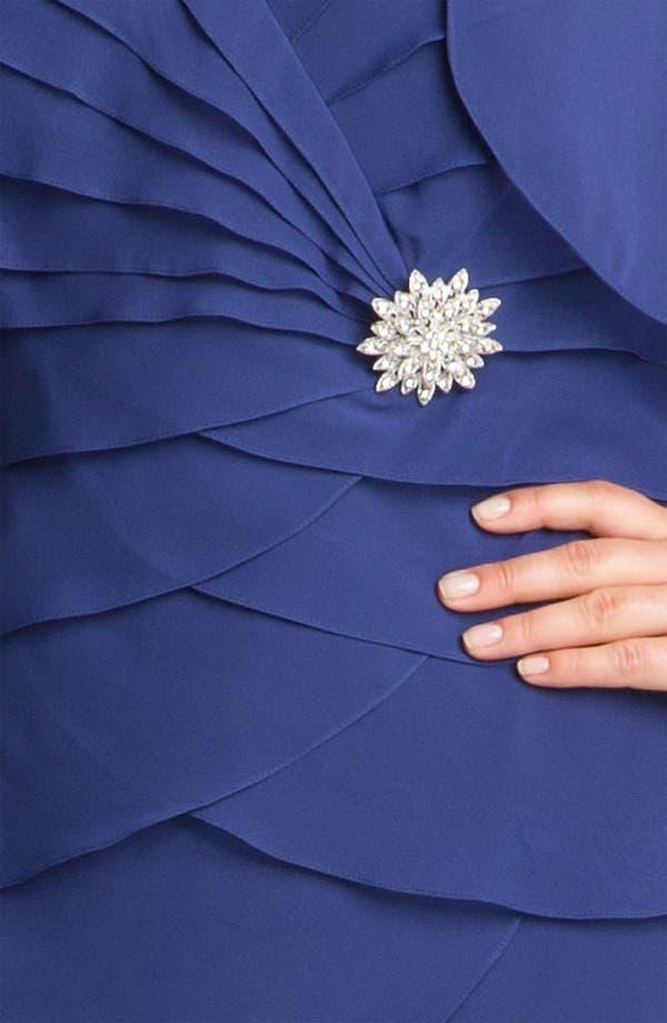 Alternate Image 3  - Alex Evenings Tiered Chiffon Dress & Bolero (Plus)