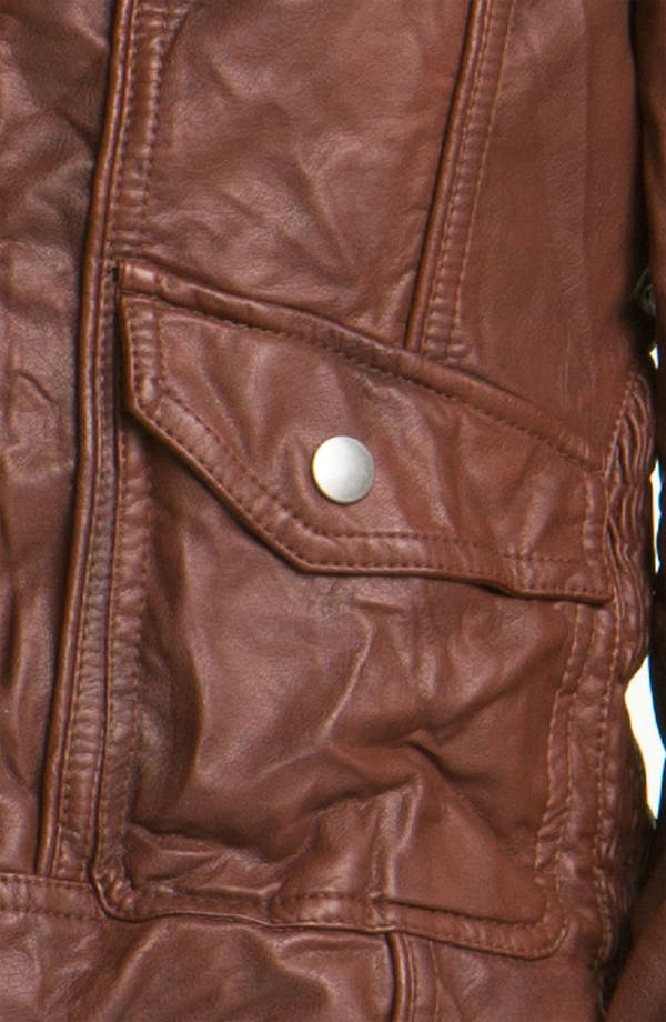 Alternate Image 3  - Collection B Faux Leather Jacket with Fleece Hood (Juniors)