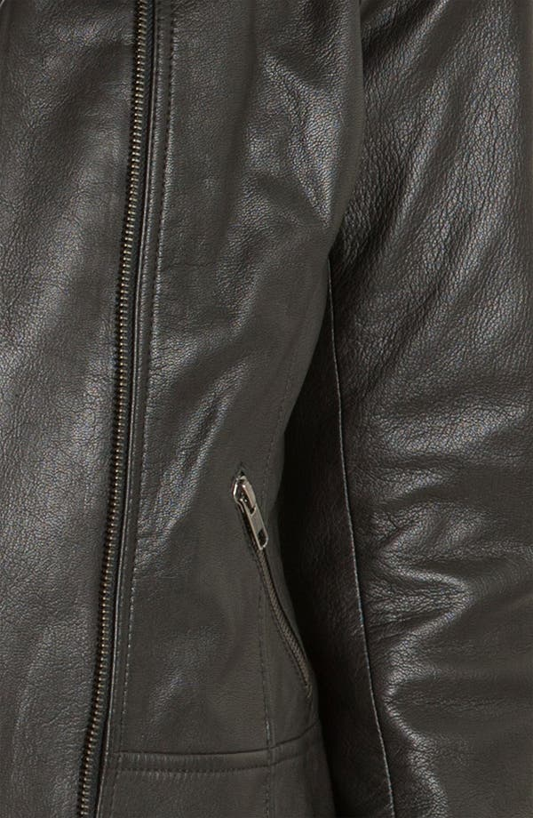 Alternate Image 3  - Caslon® Zip Front Leather Jacket