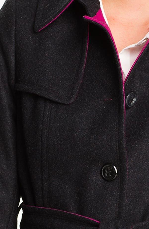 Alternate Image 3  - DKNY Contrast Trim Wool Blend Coat