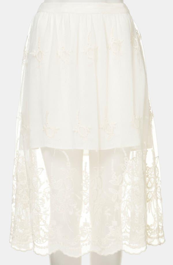 Alternate Image 2  - Topshop Embroidered Sheer Skirt