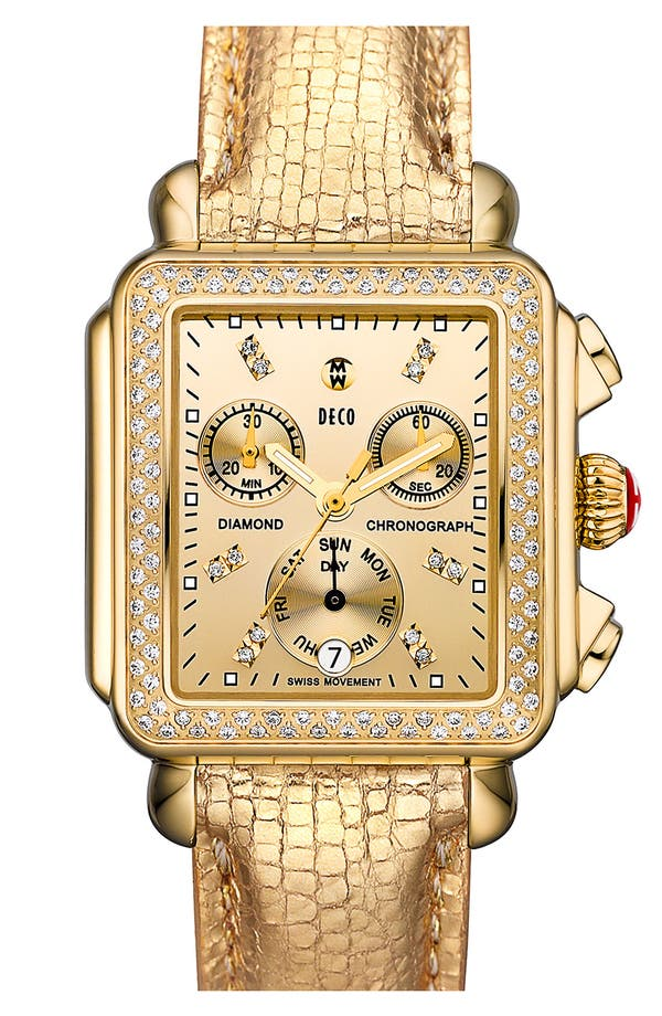 Alternate Image 2  - MICHELE 'Deco Diamond' Diamond Dial High Shine Gold Watch Case