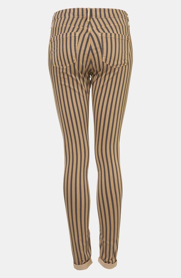 Alternate Image 2  - Topshop Moto 'Leigh' Stripe Skinny Jeans (Navy)