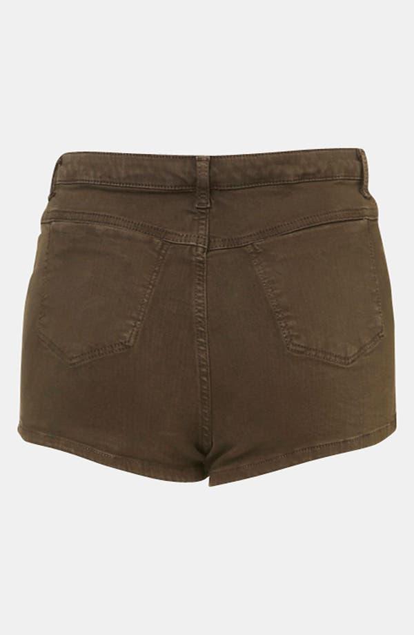 Alternate Image 2  - Topshop Moto 'Suri' Denim Hot Pants (Olive)