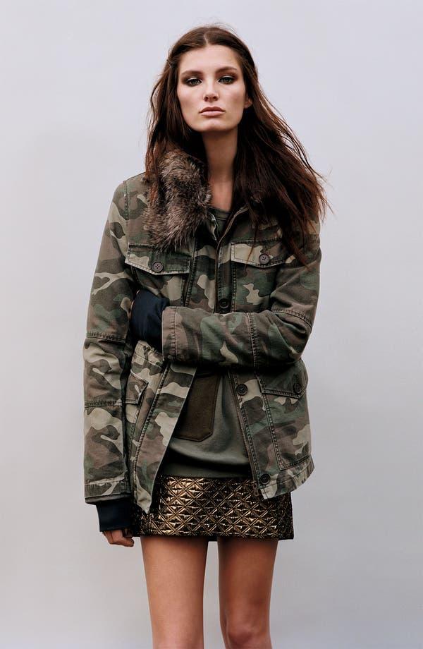 Main Image - TOPSHOP Camo Jacket & Metallic Miniskirt