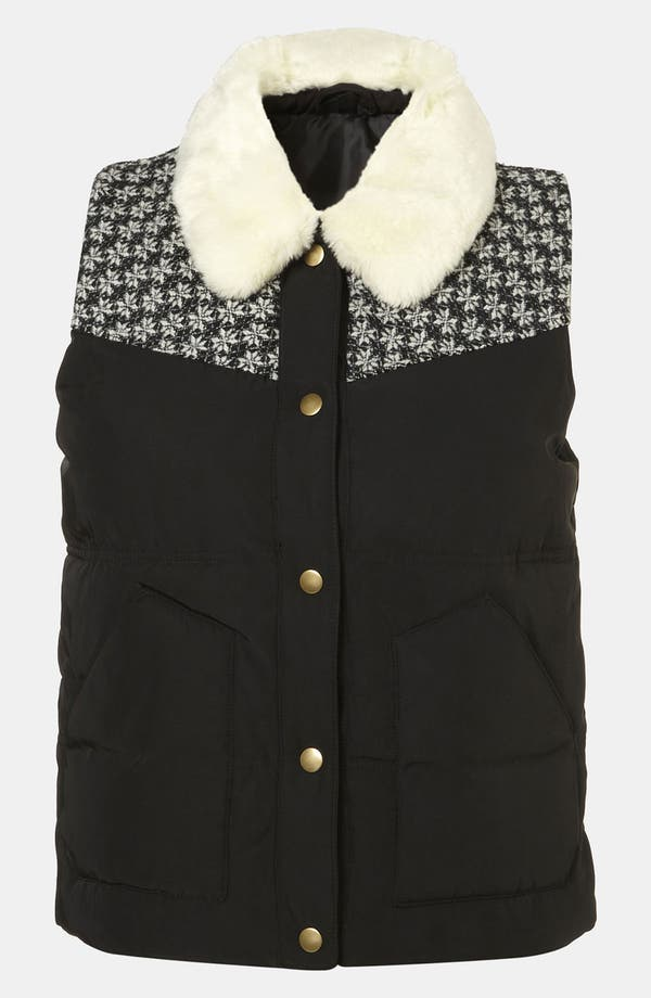 Alternate Image 1 Selected - Topshop Faux Fur Collar Puffy Vest
