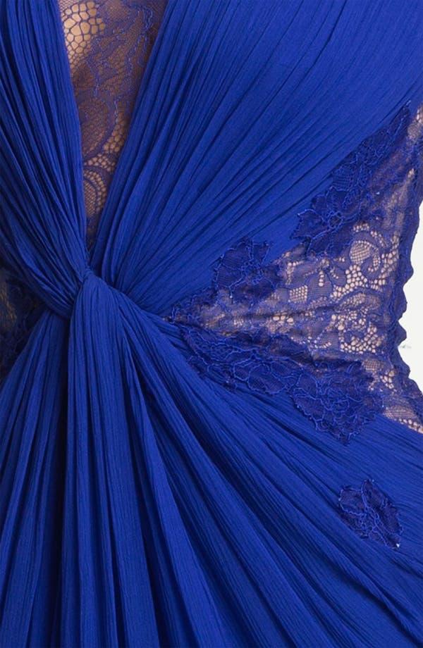 Alternate Image 3  - BCBGMAXAZRIA Lace Inset Textured Silk Chiffon Gown