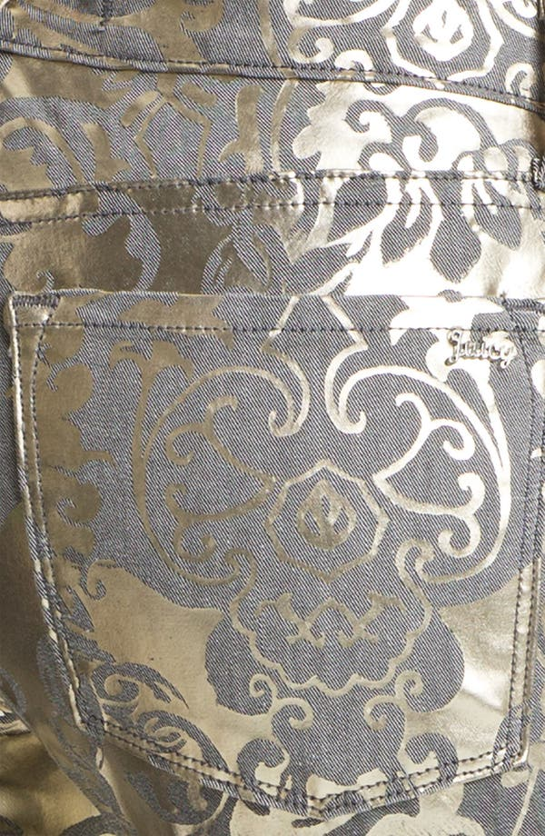 Alternate Image 3  - Juicy Couture Foil Brocade Skinny Jeans (Pale Gold)