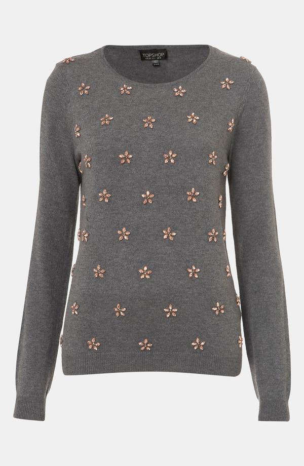 Main Image - Topshop Embellished Flower Sweater