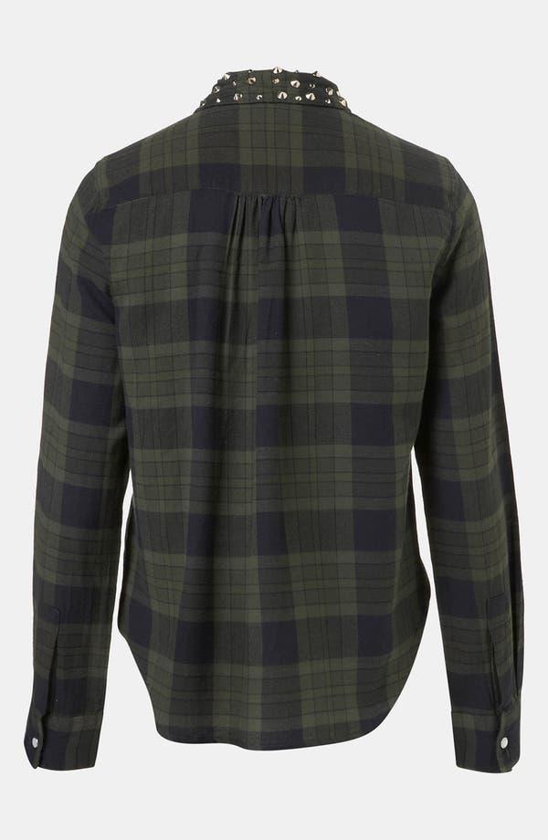 Alternate Image 2  - Topshop Stud Collar Plaid Shirt