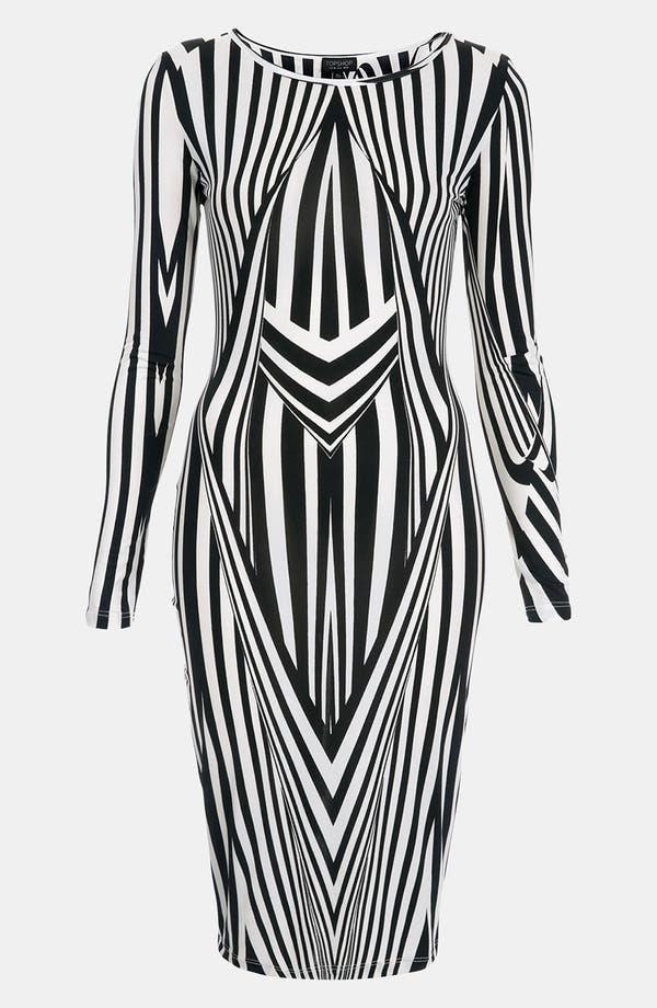 Main Image - Topshop Black & White Optical Body-Con Dress