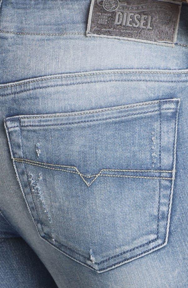 Alternate Image 3  - DIESEL® 'Grupee' Distressed Denim Skinny Jeans (Blue Distressed)