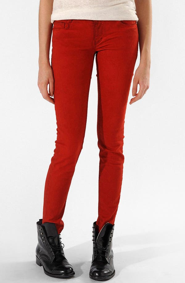 Main Image - maje 'Javaro' Colored Slim Leg Stretch Jeans (Rouge)