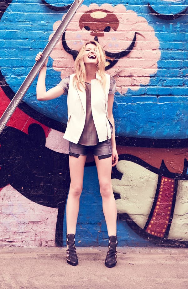 Main Image - Mural Faux Leather Vest, ASTR Sheer Top & edyson Cutoff Shorts