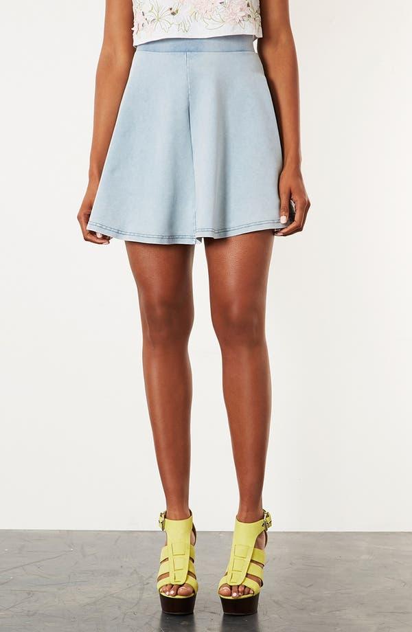 Main Image - Topshop 'Andie' Denim Look Skater Skirt