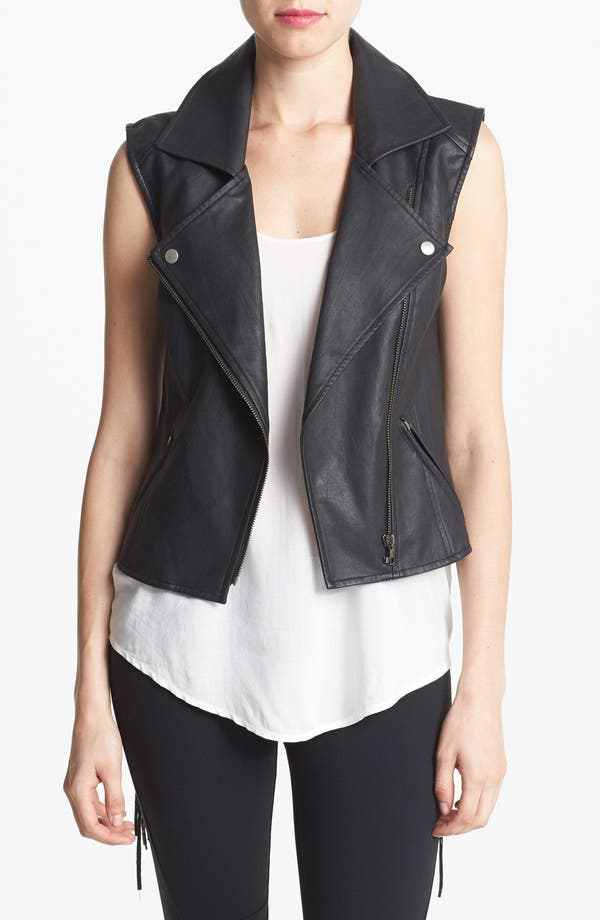 Main Image - ASTR Fringed Back Faux Leather Moto Vest