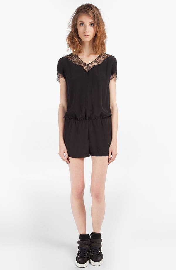 Alternate Image 1 Selected - maje 'DJ' Lace & Silk Romper