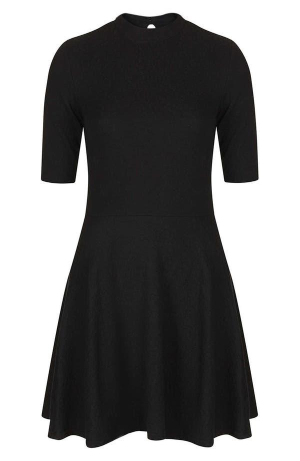 Alternate Image 3  - Topshop Mock Neck Textured Skater Dress
