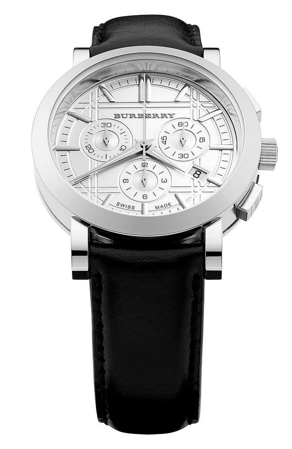 Alternate Image 1 Selected - Burberry Round Chronograph Leather Strap Watch