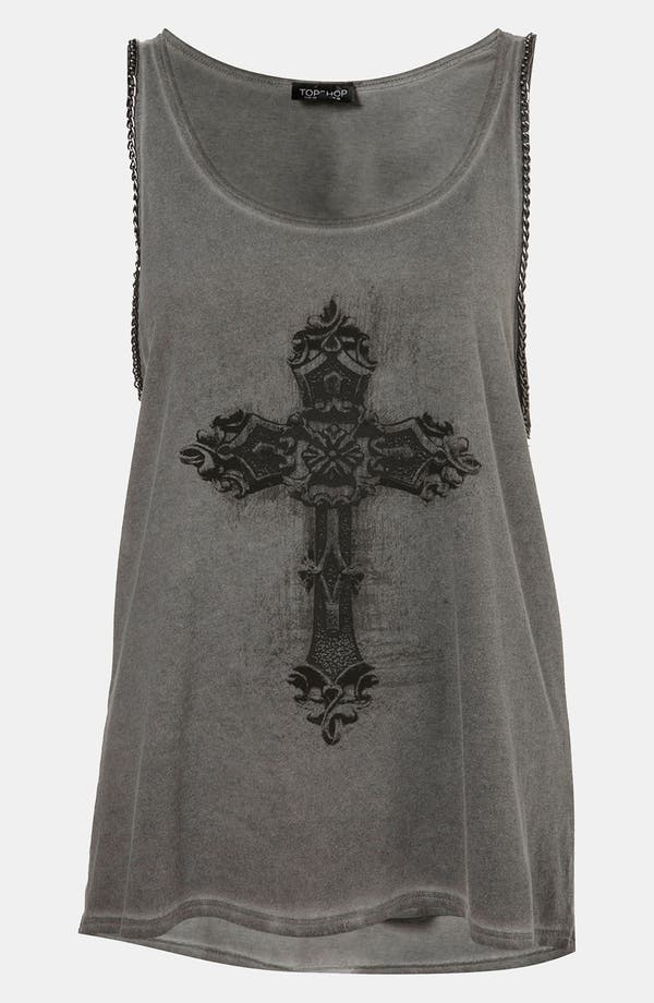 Main Image - Topshop Chain Trim Graphic Tank