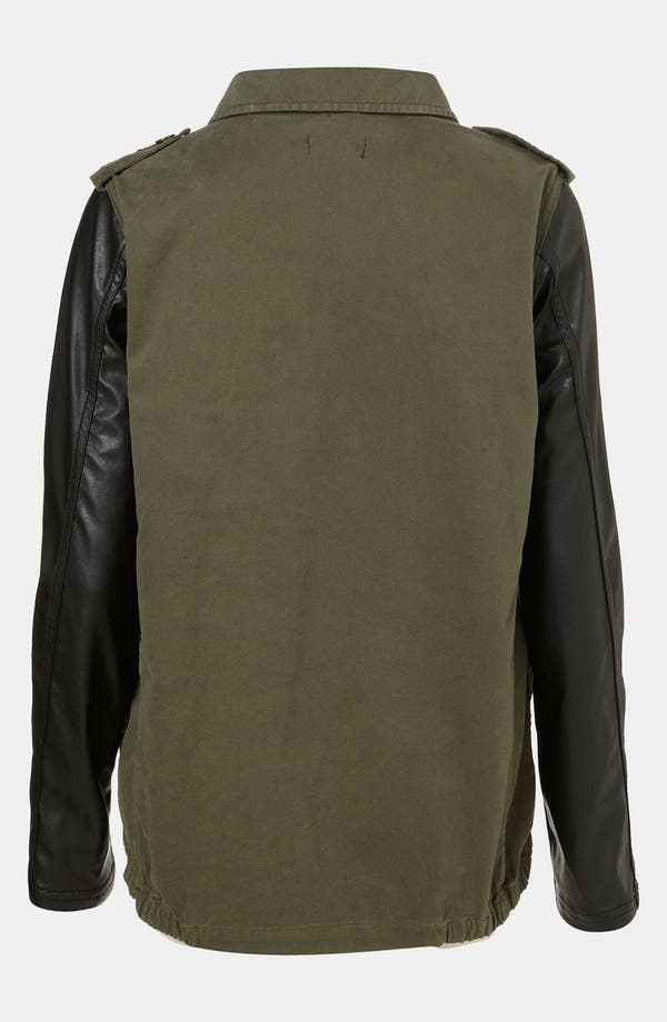 Alternate Image 2  - Topshop Faux Leather Sleeve Army Jacket