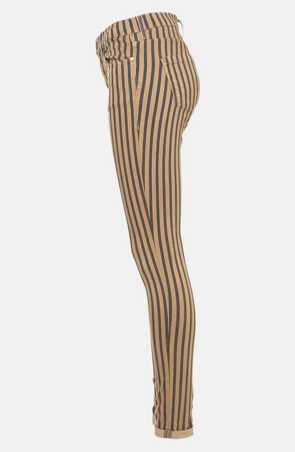 Alternate Image 4  - Topshop Moto 'Leigh' Stripe Skinny Jeans (Navy)