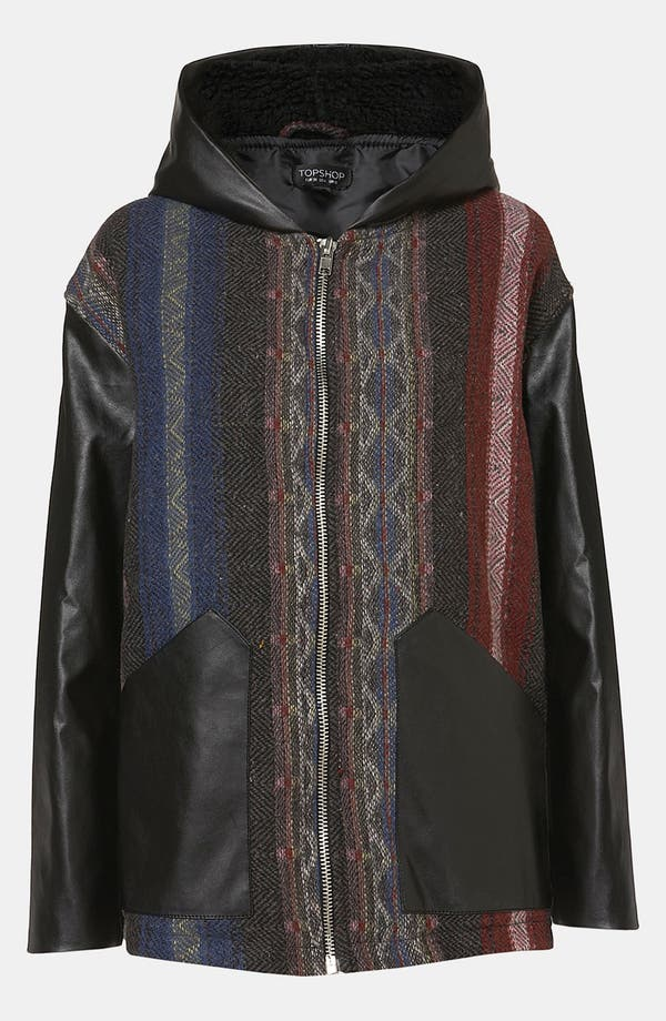 Alternate Image 1 Selected - Topshop Faux Leather Trim Baja Coat