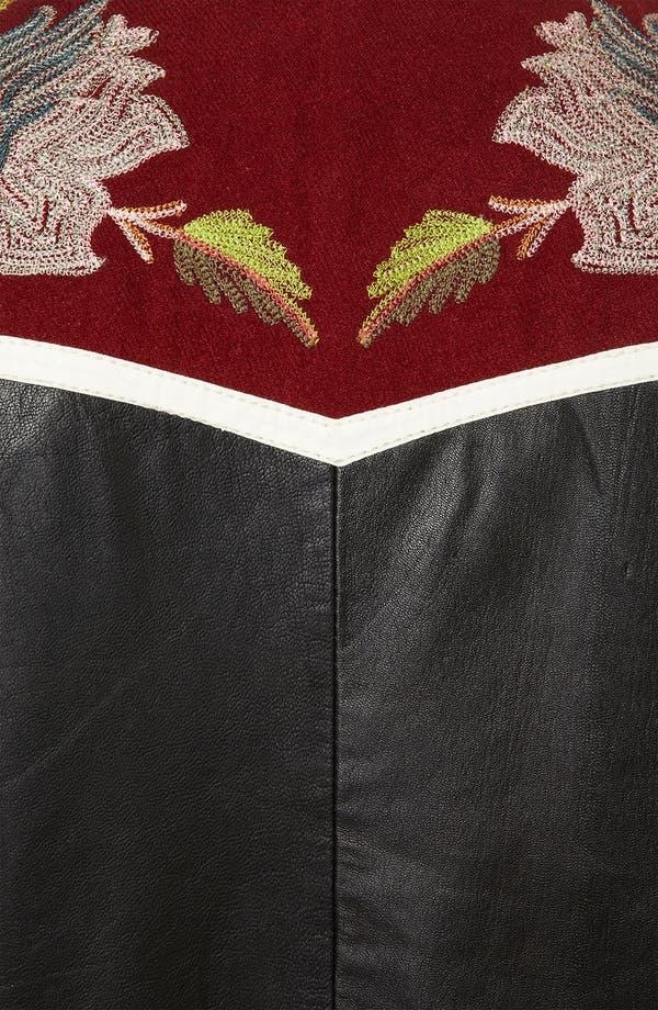 Alternate Image 3  - Topshop 'Clive' Embroidered Leather Bomber Jacket