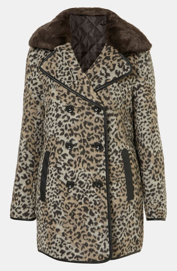 Alternate Image 1 Selected - Topshop 'Karin' Faux Leopard Fur Coat
