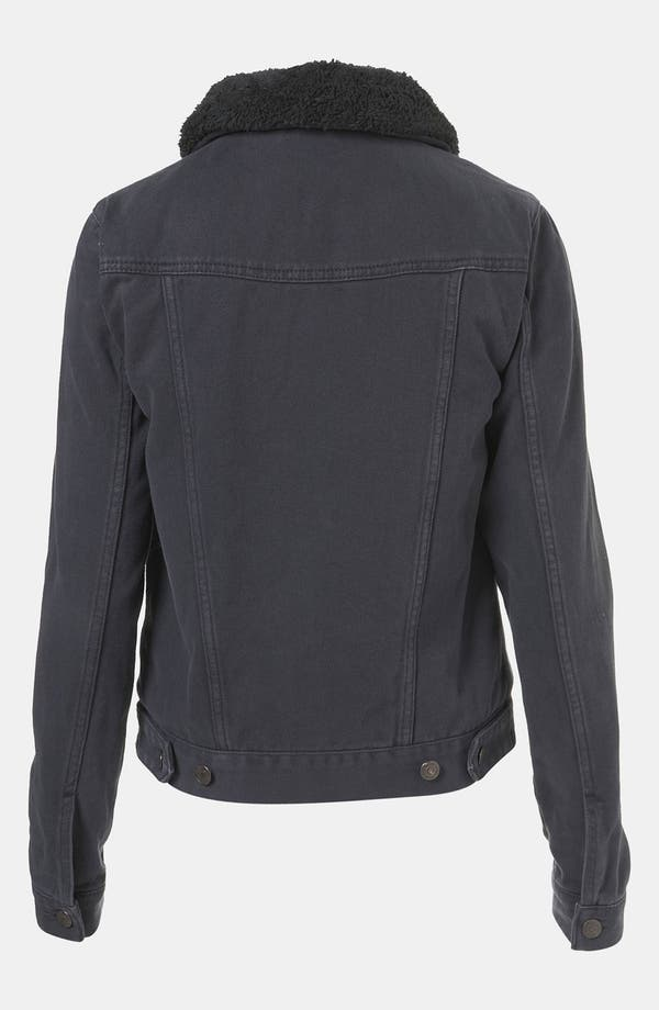 Alternate Image 2  - Topshop Moto Plush Lined Denim Jacket