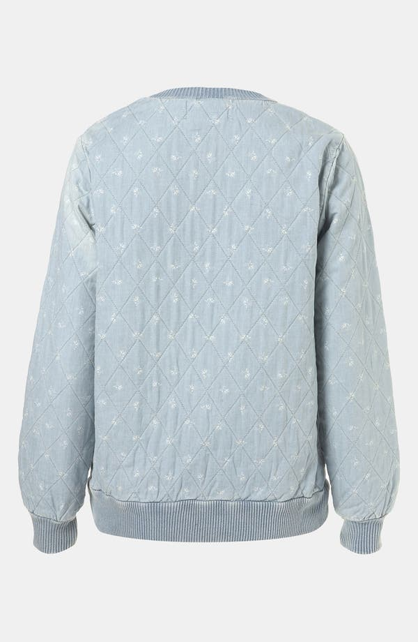 Alternate Image 2  - Topshop Moto Quilted Ditsy Denim Top