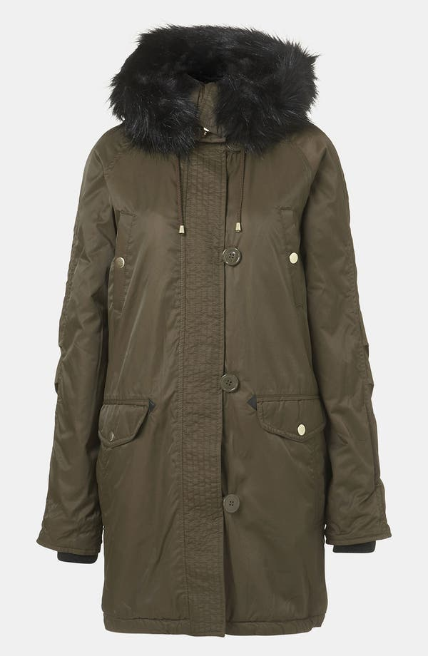 Alternate Image 4  - Topshop Faux Fur Trim Parka