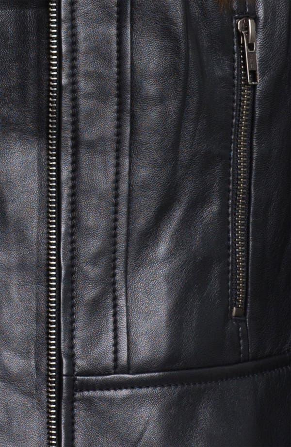 Alternate Image 3  - Halogen® Quilted Trim Leather Jacket