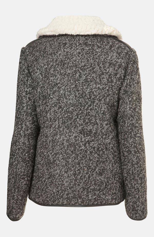 Alternate Image 2  - Topshop Textured Wool Biker Jacket