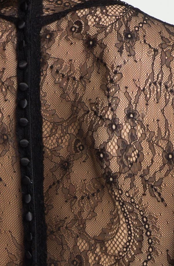 Alternate Image 3  - Betsy & Adam Lace Sleeve Pleated Mesh Gown