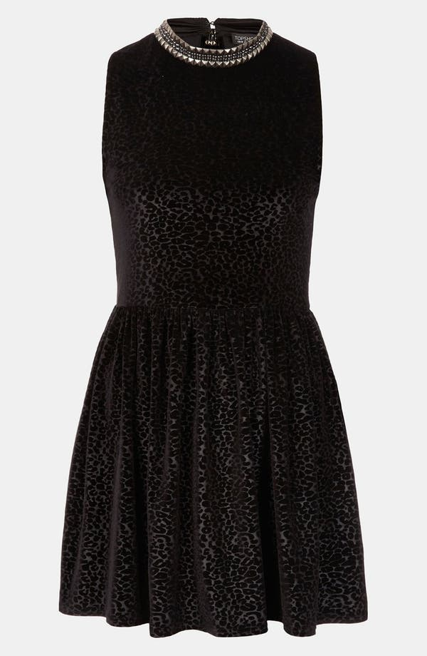 Alternate Image 1 Selected - Topshop Stud Necklace Devore Velvet Dress