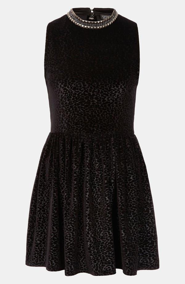 Main Image - Topshop Stud Necklace Devore Velvet Dress