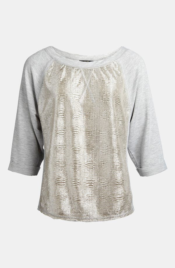 Alternate Image 1 Selected - LMK Metallic Raglan Sleeve Top