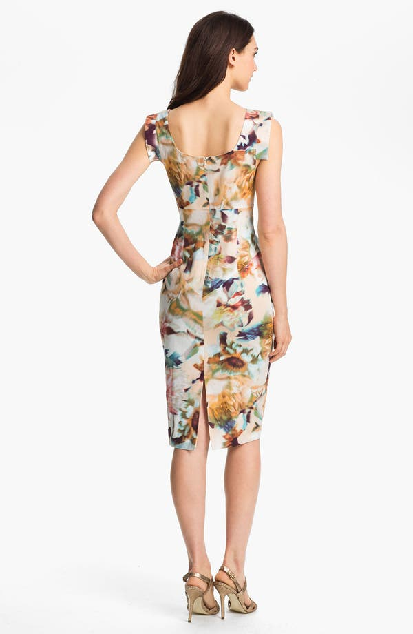 Alternate Image 2  - Black Halo 'Jackie O' Tab Sleeve Print Sheath Dress