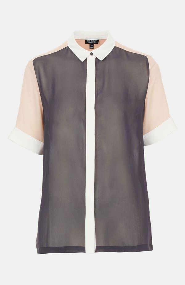 Main Image - Topshop Colorblock Chiffon Shirt