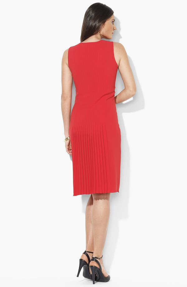 Alternate Image 2  - Lauren Ralph Lauren Pleated Sleeveless Dress (Petite)