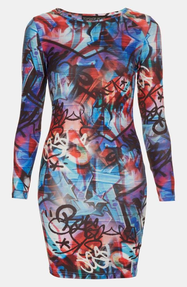Main Image - Topshop 'Graffiti' Print Body-Con Dress (Petite)