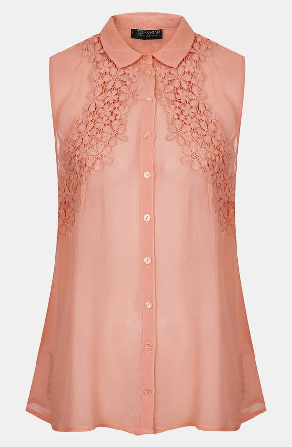 Alternate Image 3  - Topshop Floral Crochet Sleeveless Shirt