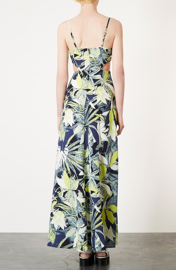 Alternate Image 2  - Topshop Leaf Print Cutout Maxi Dress