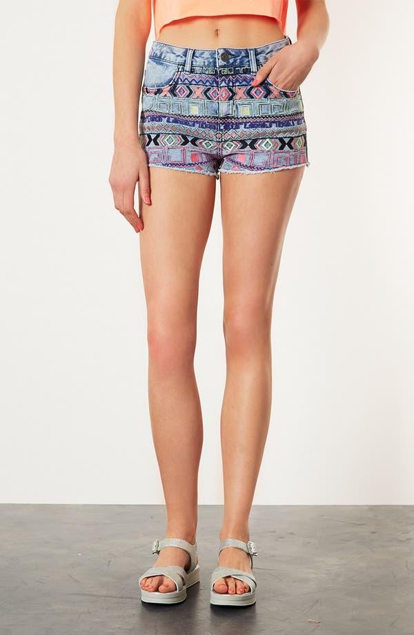 Main Image - Topshop Moto Embroidered Denim Shorts
