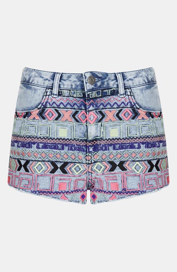 Alternate Image 3  - Topshop Moto Embroidered Denim Shorts