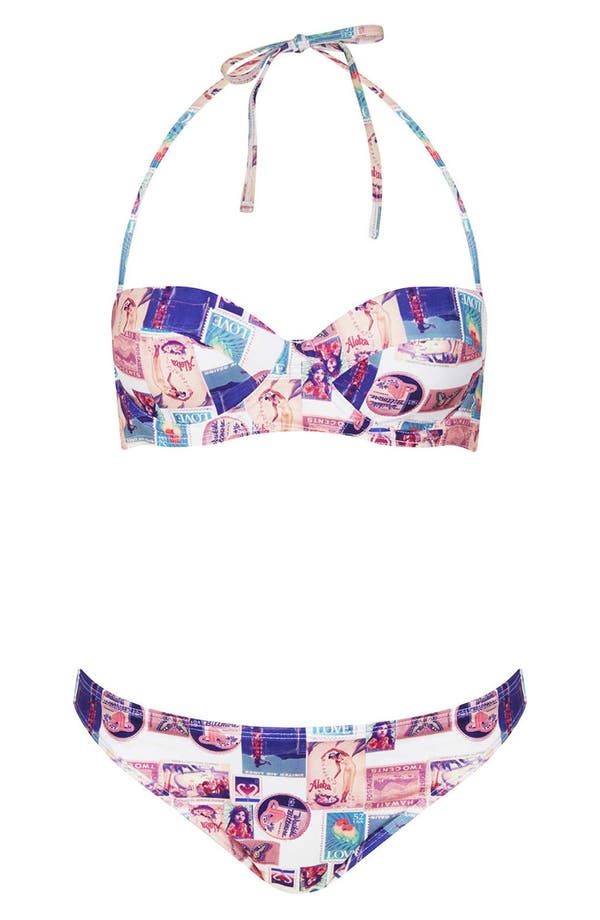 Alternate Image 1 Selected - Topshop 'Souvenir Postcard' Bikini Set